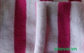 Vải cotton sọc 4 chiều màu trắng hồng