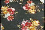 Vải cát (C11116) - Màu đen họa tiết bông to - Khổ 1.5/1.6 mét