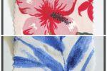 Vải cát (C08801) - Họa tiết bông màu đỏ, xanh - Khổ 1.8 mét
