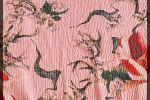 Vải xốp (X108010) - Màu hồng hoạ tiết hoa lá - Khổ 1.5/1.6 mét