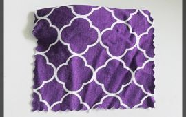 Vải thun lụa (TL08802) - Màu tím họa tiết hình khối - Khổ 1.8 mét