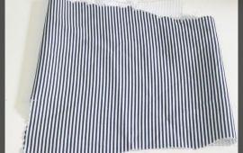 Vải cát (C11113) - Họa tiết sọc trắng&xanh đen - Khổ 1.5/1.6 mét
