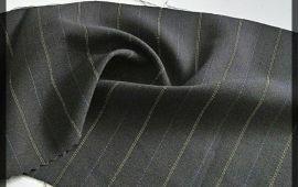 Vải quần tây (QT11115) - Màu xám kẻ sọc chỉ - Khổ 1.5/1.6 mét