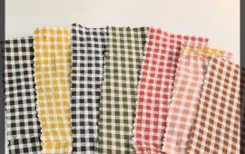 Vải kate xốp (KT02507) - Nhiều màu sắc ca rô - Khổ 1.6 mét