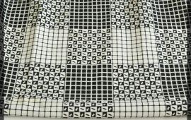 Vải xi 4 chiều - Màu trắng họa tiết nhỏ - Khổ 1.5/1.6 mét