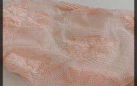 Vải ren lưới (RL108012) - Màu hồng họa tiết bông - Khổ 1.5/1.6 mét