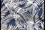 Vải voan xốp bọt (M.V11804) - Màu xanh đen họa tiết lá trắng
