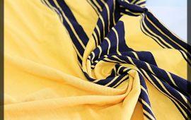 Vải cotton cá sấu (CT10702) - Màu vàng kẻ sọc - Khổ 2.2 mét