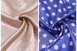 Vải phi bóng chấm bi (PL11132) - Màu be, xanh dương - Khổ 1.5/1.6 mét