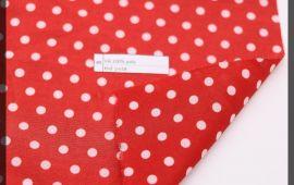 Vải bố (B12505) - Màu đỏ chấm bi trắng - Khổ 1.58 mét