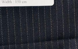 Vải len LA021NAVY - Màu đen kẻ sọc trắng