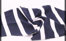 Vải cotton sọc 4 chiều (CT13202) - Mùa xanh đen sọc trắng - Khổ 1.6 mét