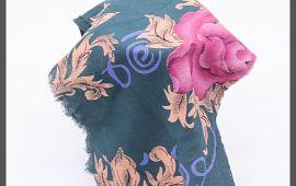 Vải tôn lụa (T13303) - Màu xanh cổ vịt bông hoa - Khổ 1.44 mét